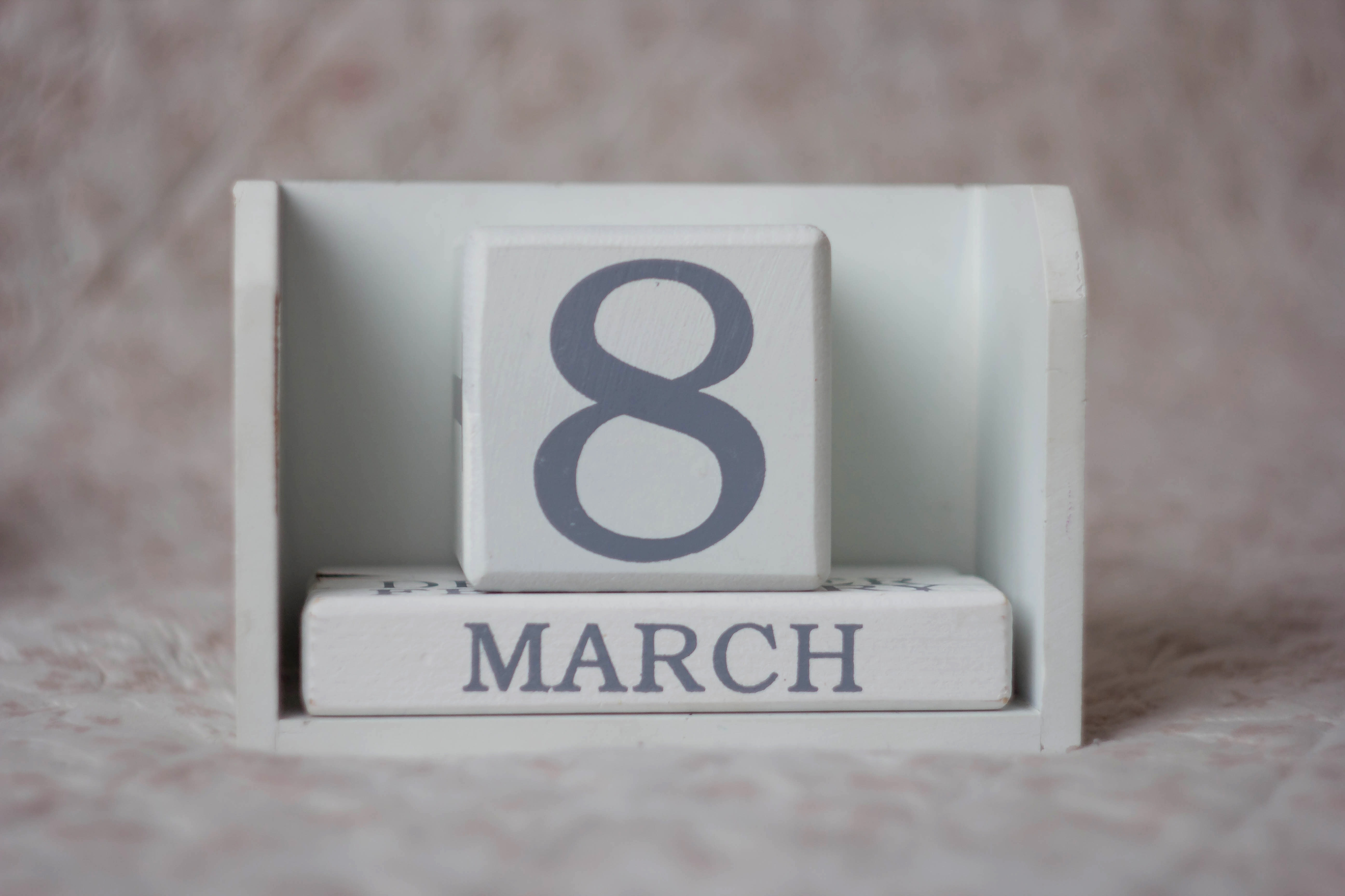 8th of March date calender on a wooden block