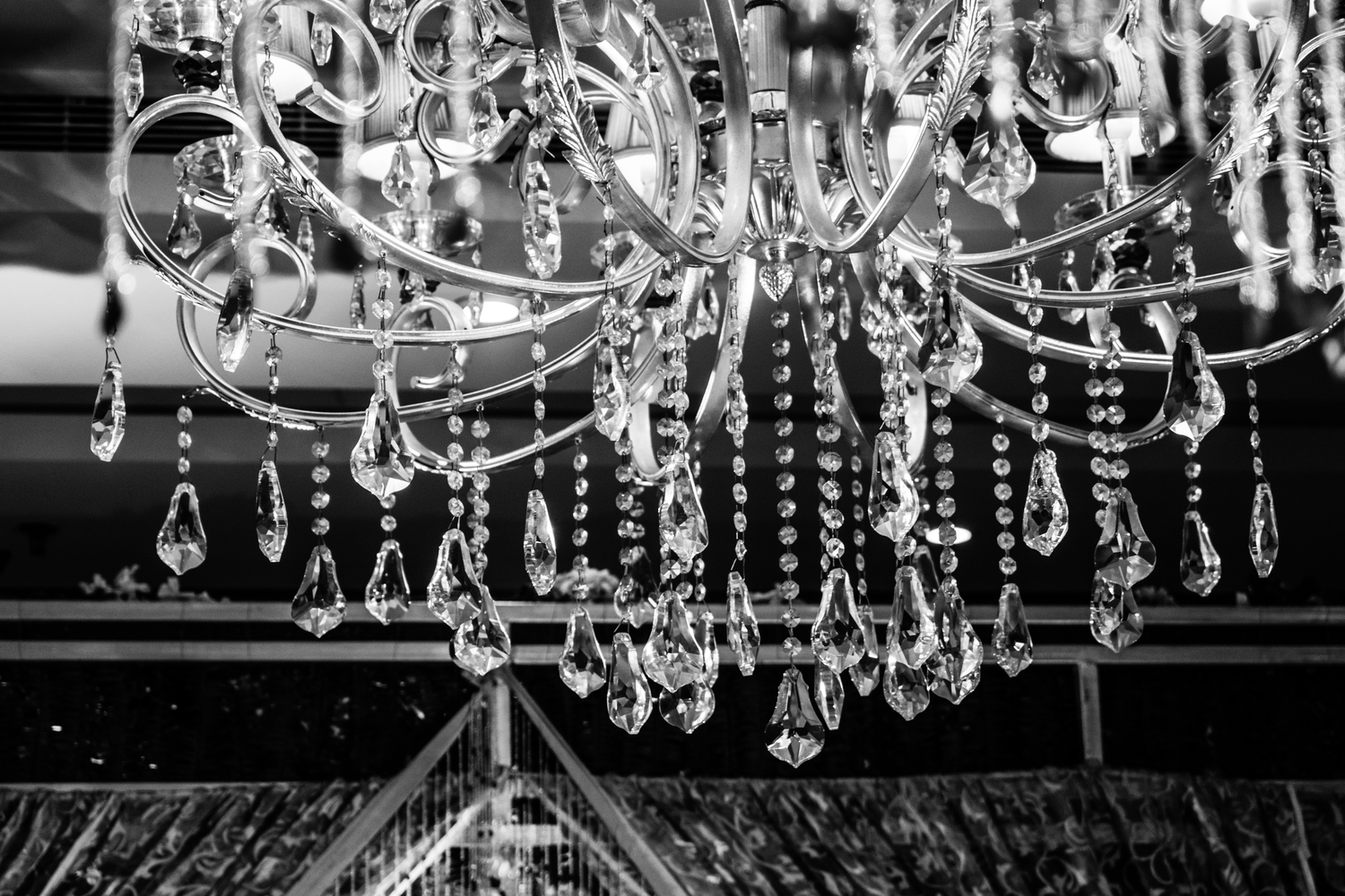 glass chandelier with black background