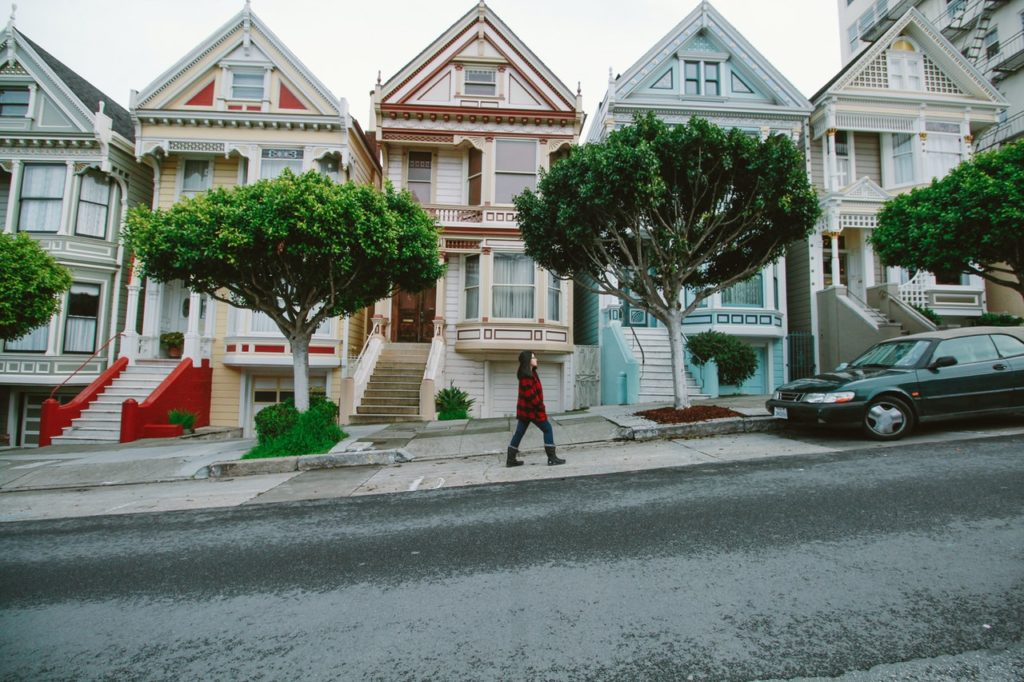 Victorian styled homes build on a slope or a fall